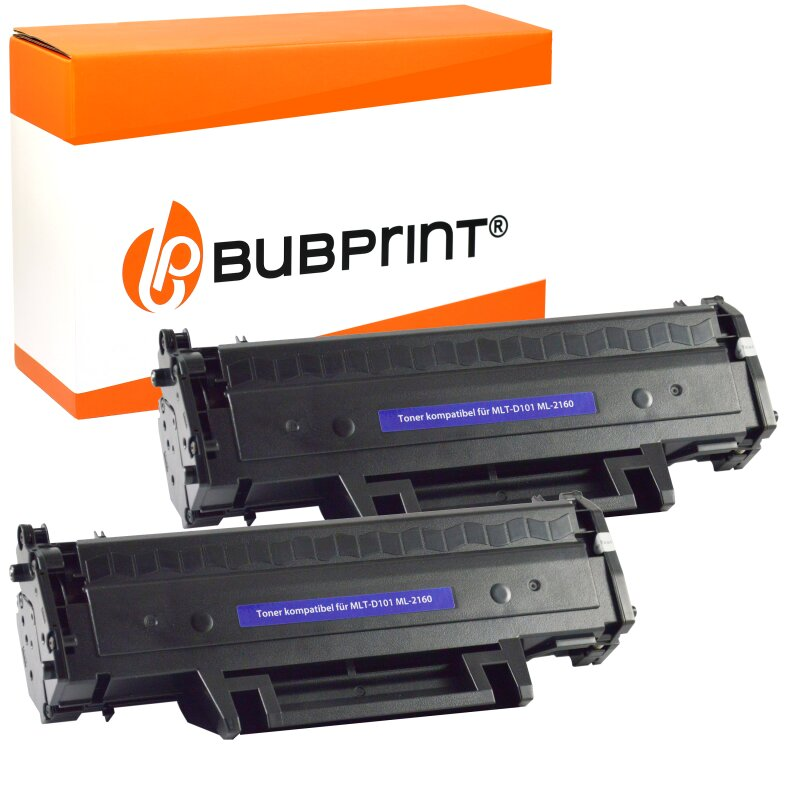 Bubprint 2x Toner kompatibel für Samsung MLTD101 ML-2160 black