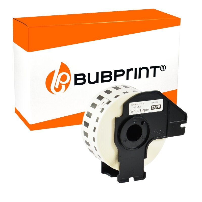 Bubprint Etiketten endlos kompatibel für Brother DK-22214 #2214 12mm x 30,48m