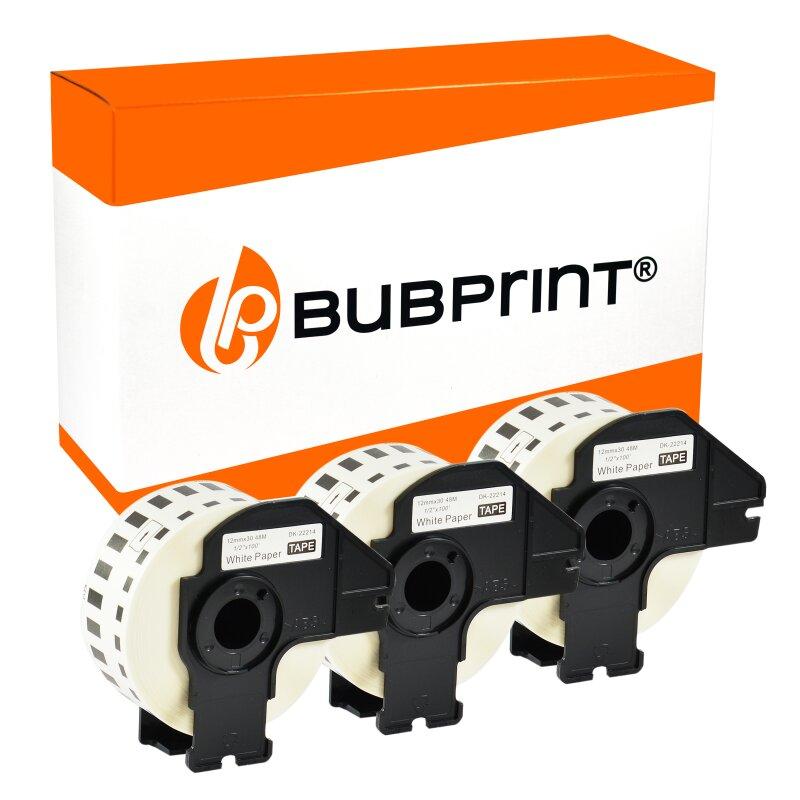 Bubprint 3x Rollen Etiketten kompatibel für Brother DK-22214 #2214 12mmx30,48m