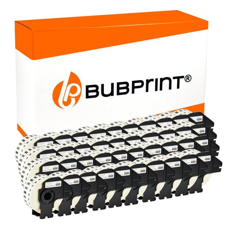 Bubprint 40x Rollen Etiketten kompatibel für Brother DK-22214 #2214 12mmx30,48m