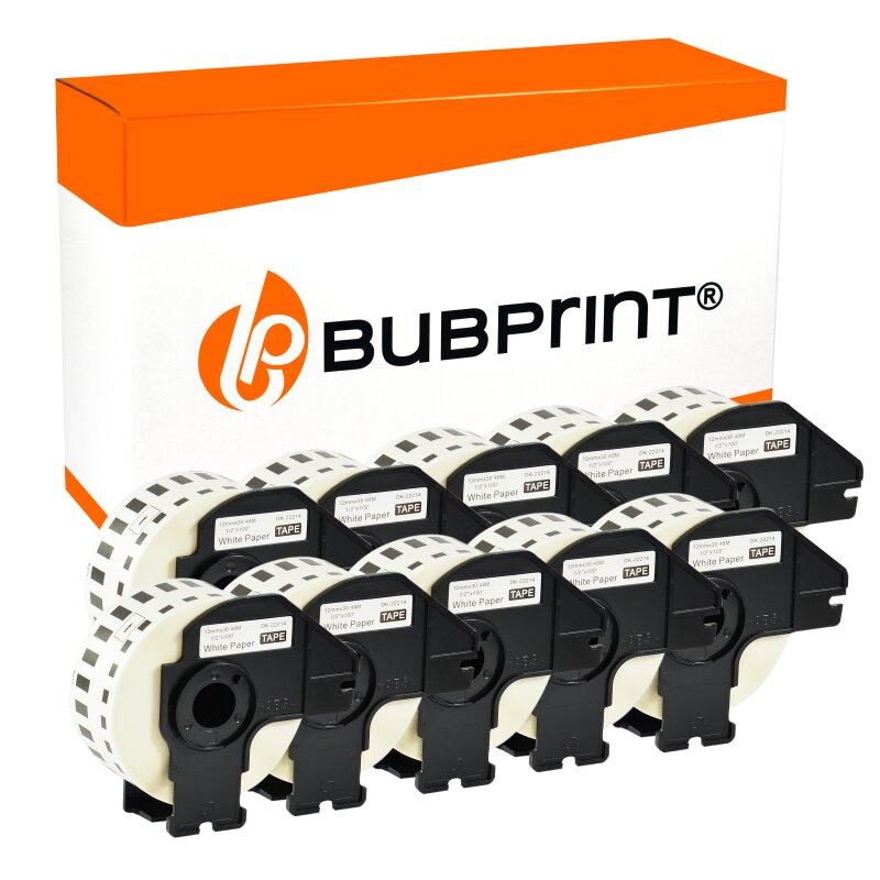Bubprint 10x Rollen Etiketten kompatibel für Brother DK-22214 #2214 12mmx30,48m