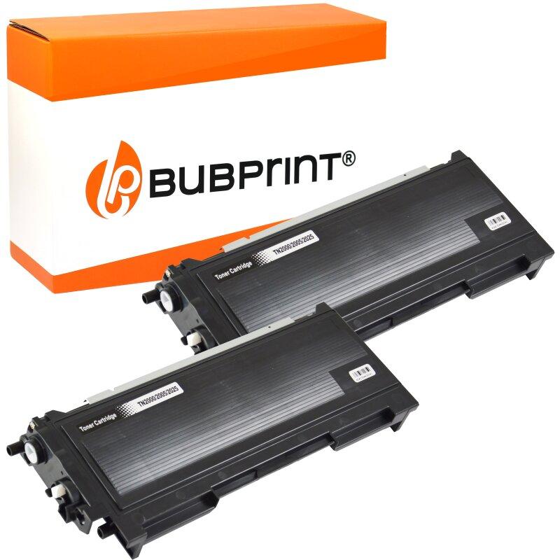 Bubprint 2x Toner kompatibel für Brother TN-2005 black HL 2035 HL 2037