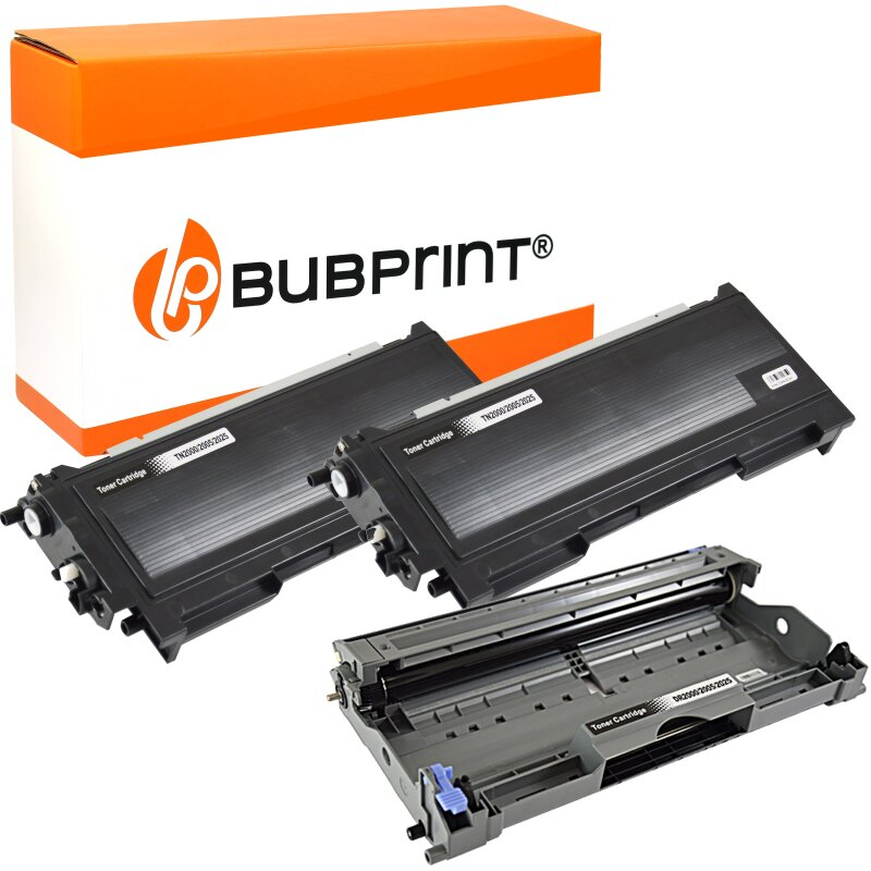 Bubprint 2x Toner kompatibel für Brother TN-2000 black & Drum DR-2000 DR-2005