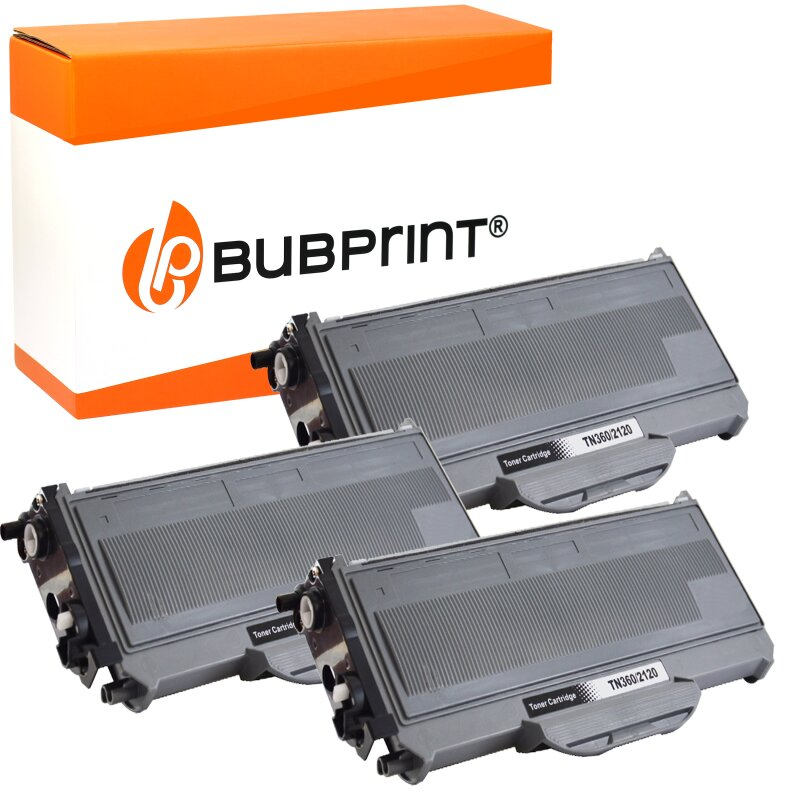 Bubprint 3x Toner kompatibel für Brother TN-2120 UHC (5.200S) black DCP-7030