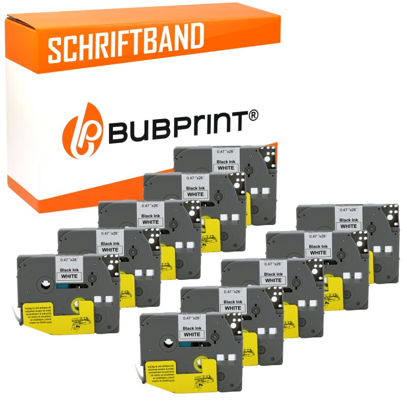 Bubprint 10x Schriftbänder kompatibel für Brother P-Touch TZe231 TZe-231 schwarz/weiß 12mm 8m SET