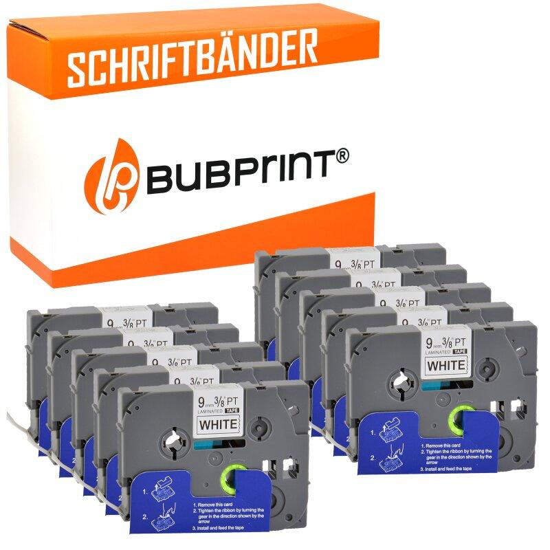 Bubprint 10x Schriftbänder kompatibel für Brother P-Touch TZe-221 schwarz/weiß 9mm 8m