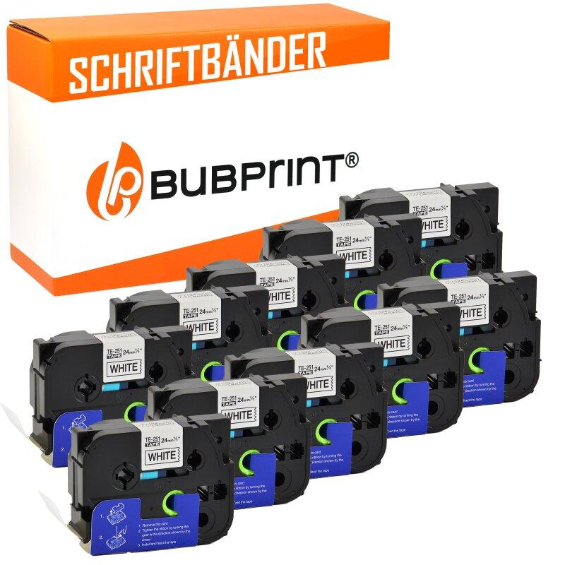Bubprint 10x Schriftbänder kompatibel für Brother P-Touch TZe-251 schwarz/weiß 24mm 8m