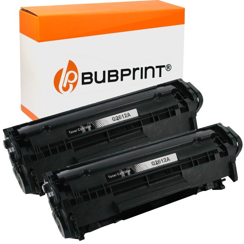 Bubprint 2x Toner Black kompatibel für HP Laserjet Q2612A HP LaserJet 1020 Canon LBP-2900 HP LaserJet 1018 HP LaserJet M 1005 MFP HP LaserJet 1010
