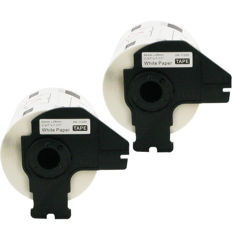 Bubprint 2x Etiketten kompatibel für Brother DK-11209 #1209 62x29mm P-Touch QL1050 P-Touch QL500 P-Touch QL800