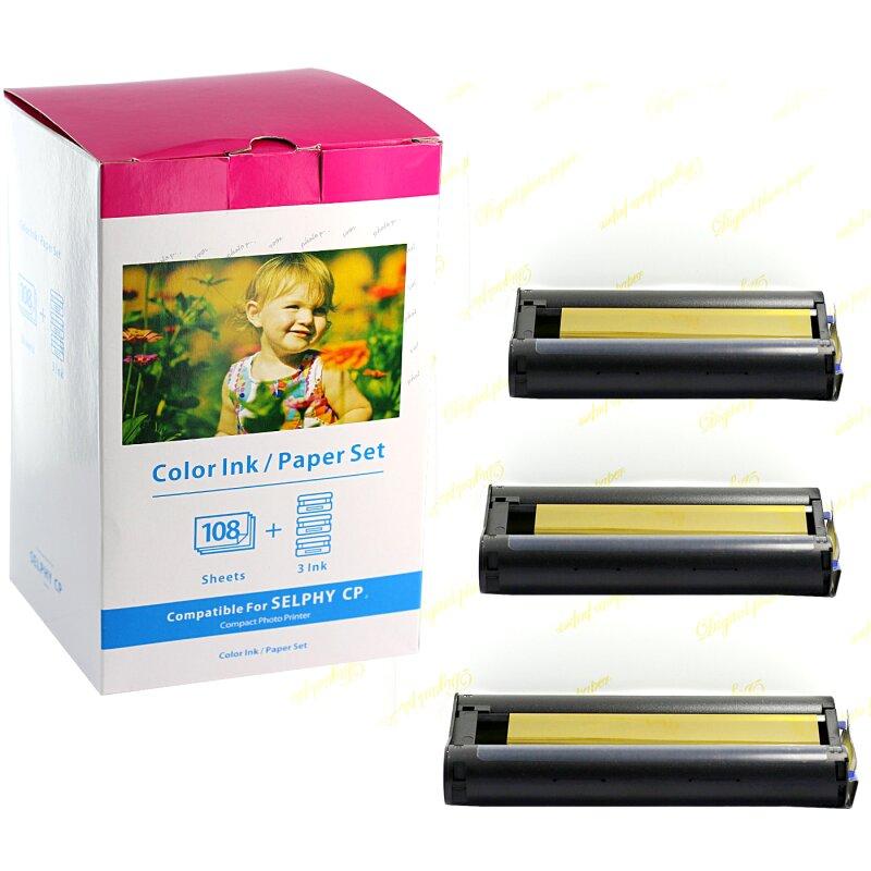 Bubprint Foto-Papier + Patrone kompatibel für Canon Selphy KP-108IN KP-108IP CP1200 CP1000 CP910 ES1 ES2 CP200 (100x148mm)