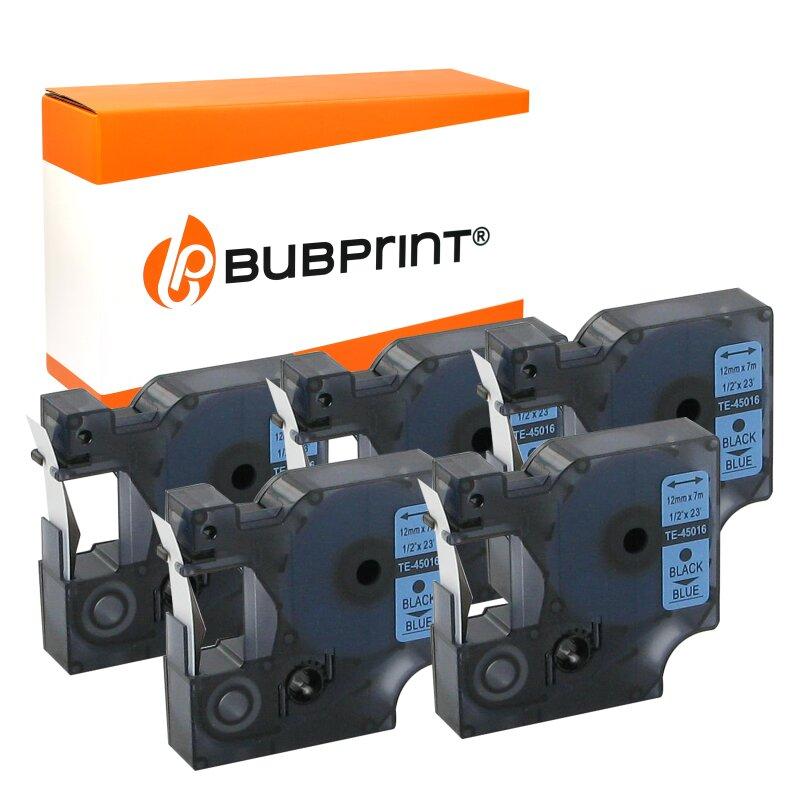 Bubprint EOL 5 Schriftbänder kompatibel für Dymo 45016 schwarz auf blau 12mm x 7m Labelmanager 100 Plus 220 P