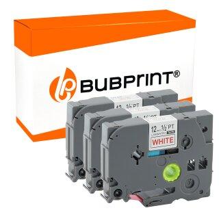 Bubprint 3 schriftbänder Kompatibel für Brother TZE-232 Rot auf Weiss