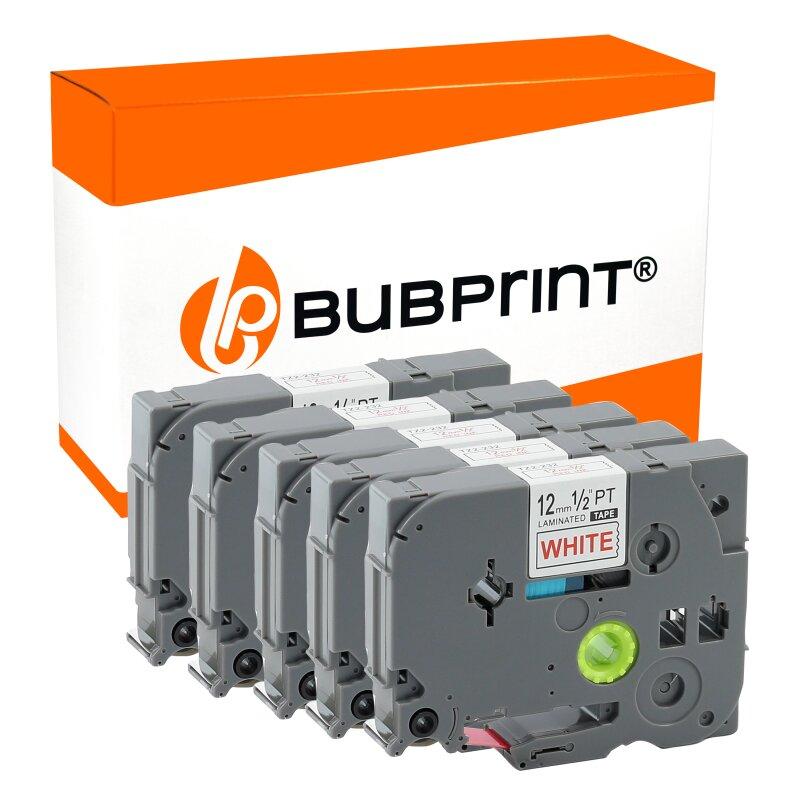 Bubprint 5 schriftbänder Kompatibel für Brother TZE-232 Rot auf Weiss