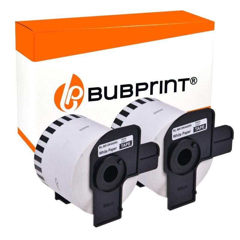 Bubprint 2 Etiketten kompatibel für Brother DK-44205 62mm x 30,48m