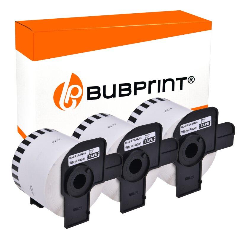 Bubprint 3 Etiketten kompatibel für Brother DK-44205 62mm x 30,48m