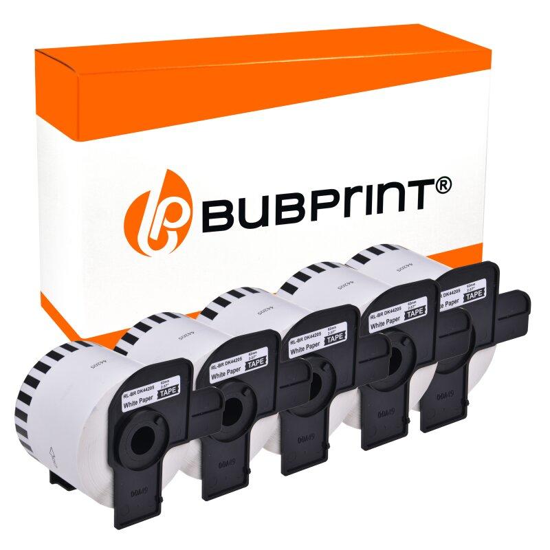 Bubprint 5 Etiketten kompatibel für Brother DK-44205 62mm x 30,48m